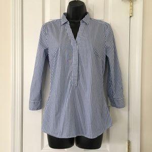 H&M 3/4 Sleeve Striped Chambray Shirt